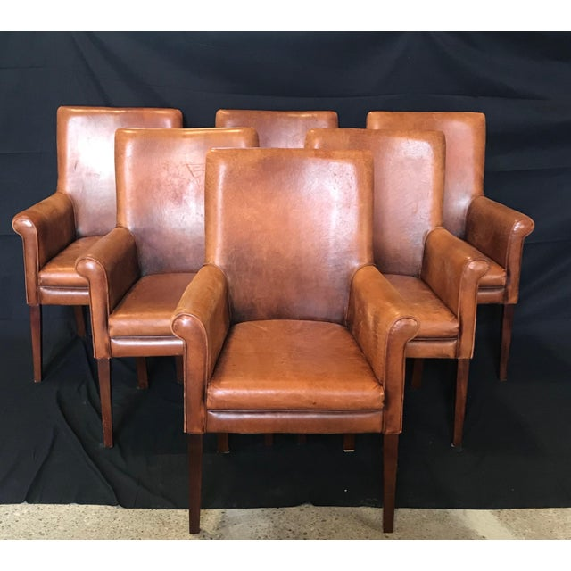 French Vintage Leather Armchairs -Set of 6 For Sale - Image 13 of 13