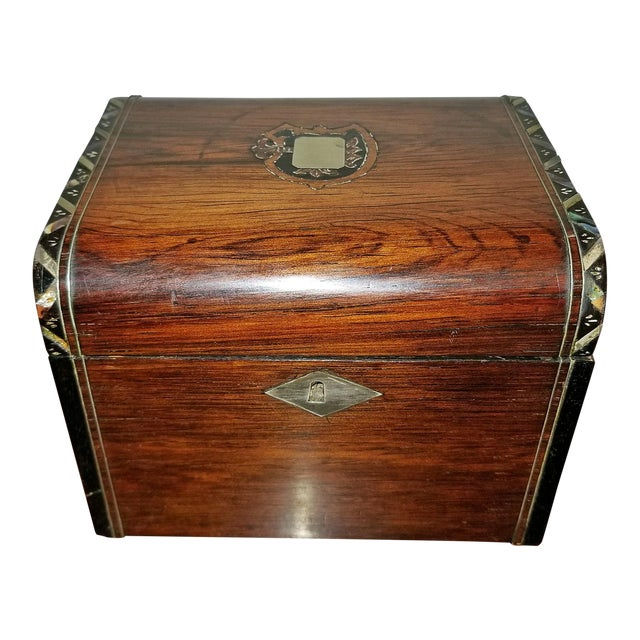 Early 19c Irish Mahogany Single Tea Caddy With Armorial Crest For Sale