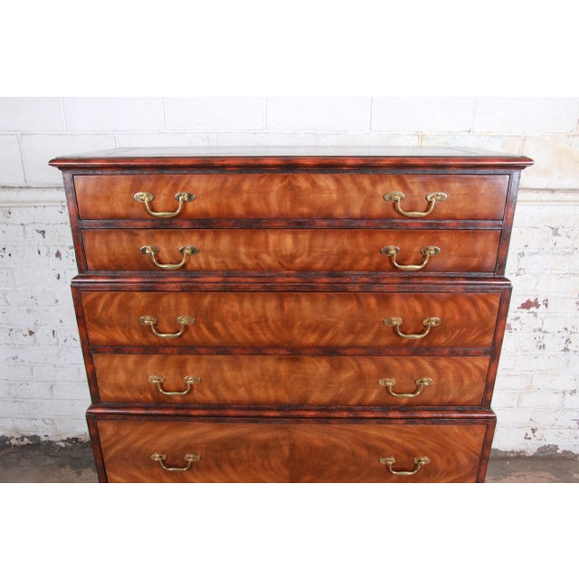 Maitland - Smith Maitland Smith Flame Mahogany and Leather Chest on Chest Highboy Dresser For Sale - Image 4 of 13