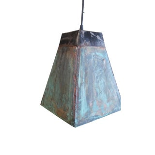 Copper Flashing & Steel Pendant Light For Sale