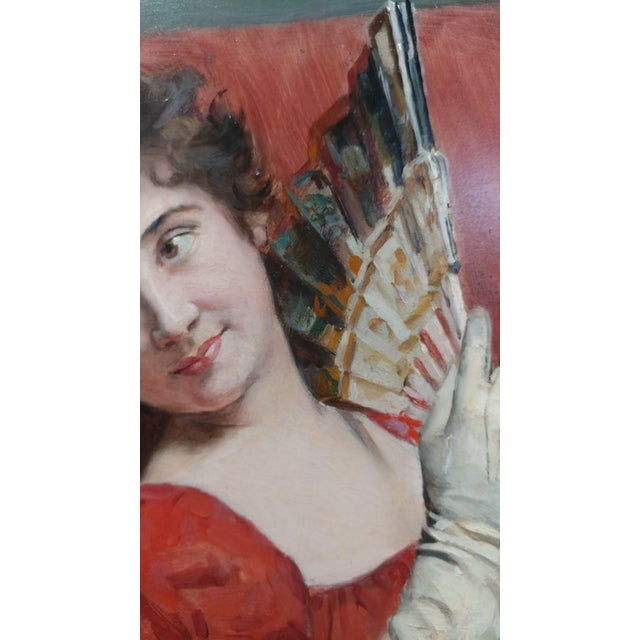 Jean Joseph Weerts - Portrait of a Woman in Red w/a Fan- Oil painting c1880s oil painting on board -signed France circa...