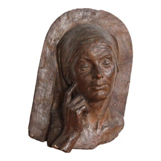 Clay Relief Sculpture of Woman For Sale