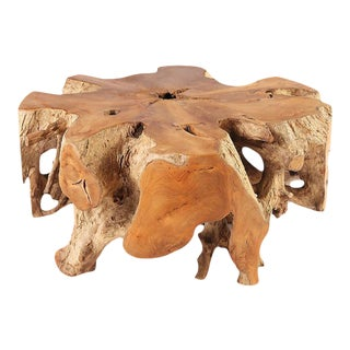 Organic Modern Round Teak Root Coffee Table For Sale