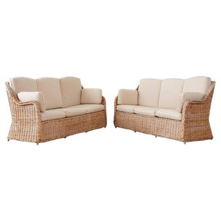 Pair of Organic Modern McGuire Style Rattan Wicker Sofas For Sale