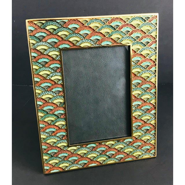 Contemporary Shagreen Gold-Plated Photo Frame by Fabio Ltd For Sale - Image 3 of 7