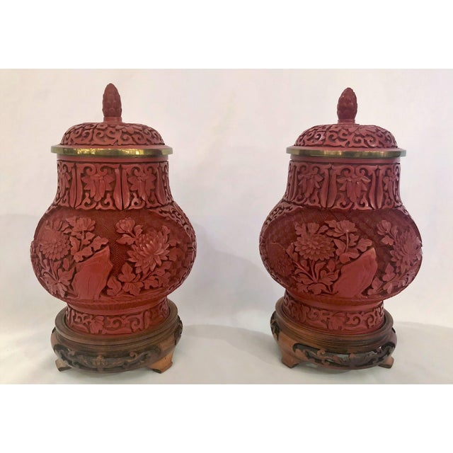 Pair Antique 19th Century Chinese Cinnabar Urns.