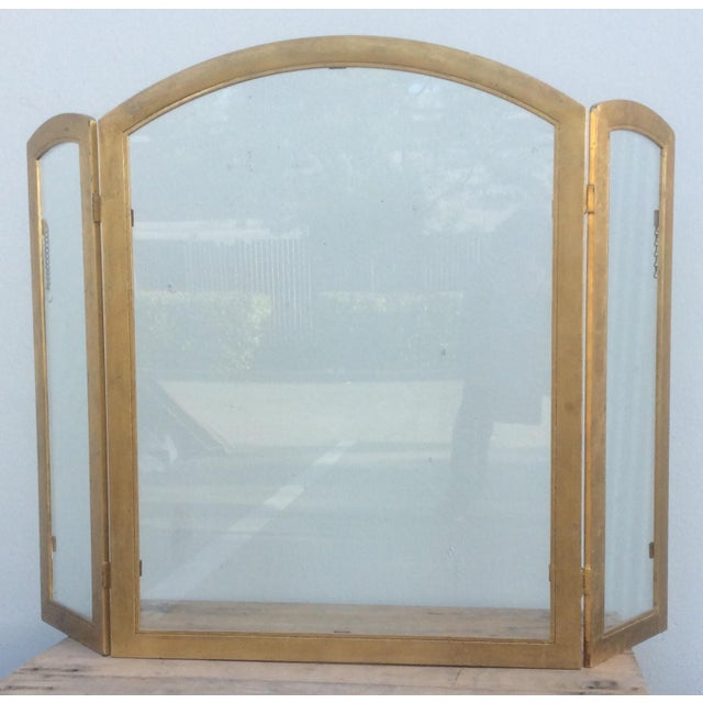Beautiful Gilt Metal and Glass Fire Screen For Sale - Image 9 of 9