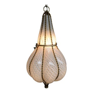 1950s Vintage Venetian Blown Glass Pendant Light For Sale