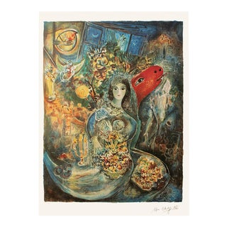 "C. 1990s Marc Chagall ""Bella"", XL Limited Edition Lithograph With C. O. A. For Sale"