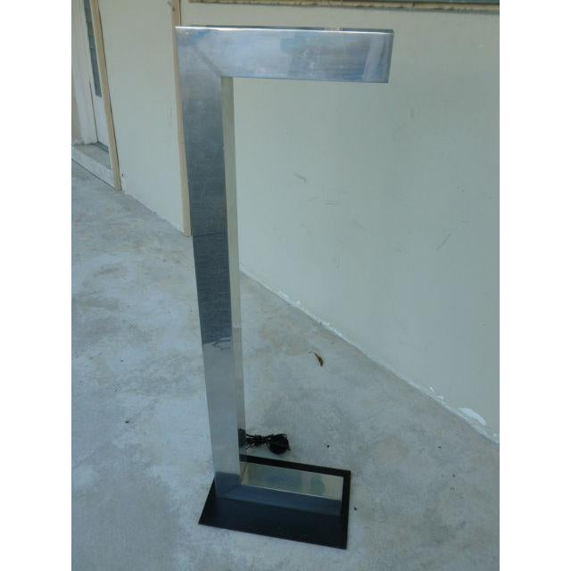 1970's Vintage Architectural Chromed Aluminum Floor Lamp For Sale In Miami - Image 6 of 7