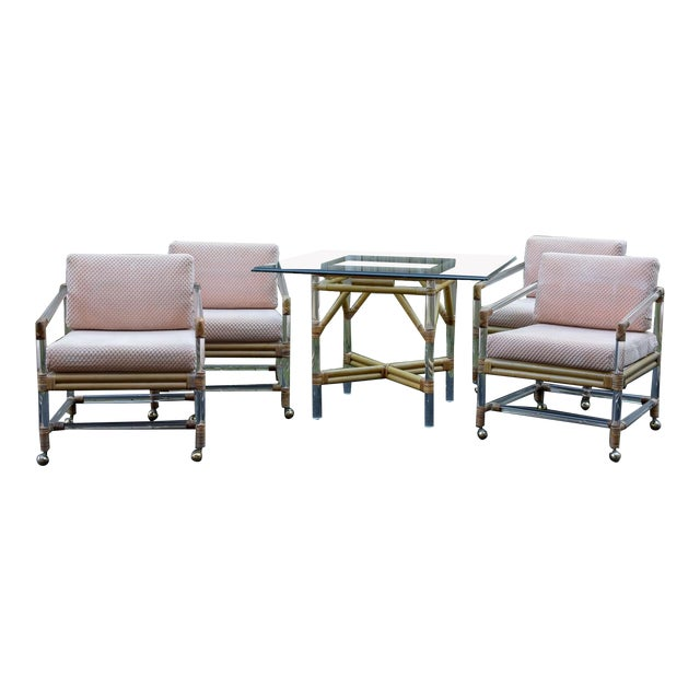 McGuire for Four Seasons Lucite and Bamboo Dining Table and Chairs Set For Sale