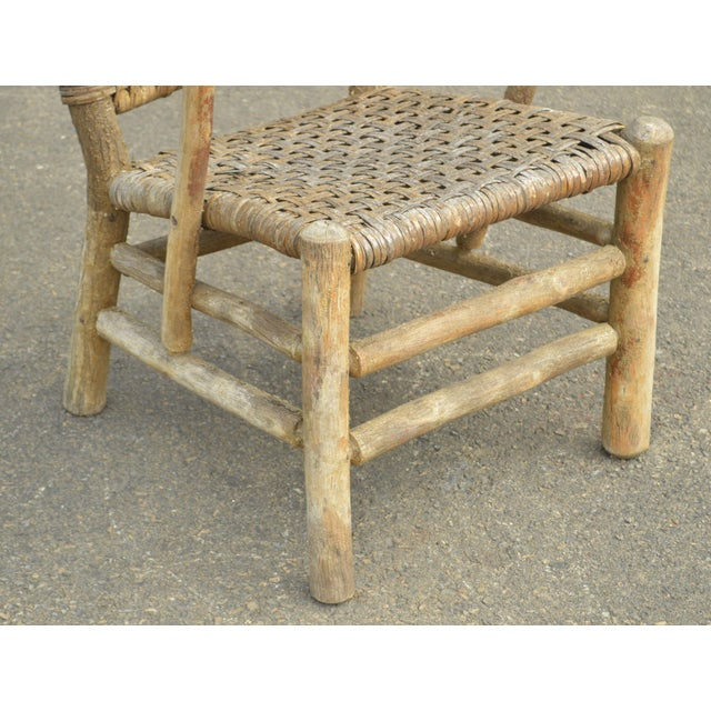 Tan Old Hickory Antique Rustic Armchair & Rocker For Sale - Image 8 of 12