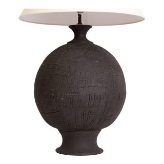 Monumental Hand Thrown Art Pottery Sphere Lamp For Sale