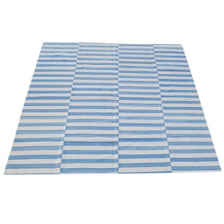 Afghan Blue & White Wool Striped Flat-Weave Kilim - 7′10″ × 9′10″ For Sale