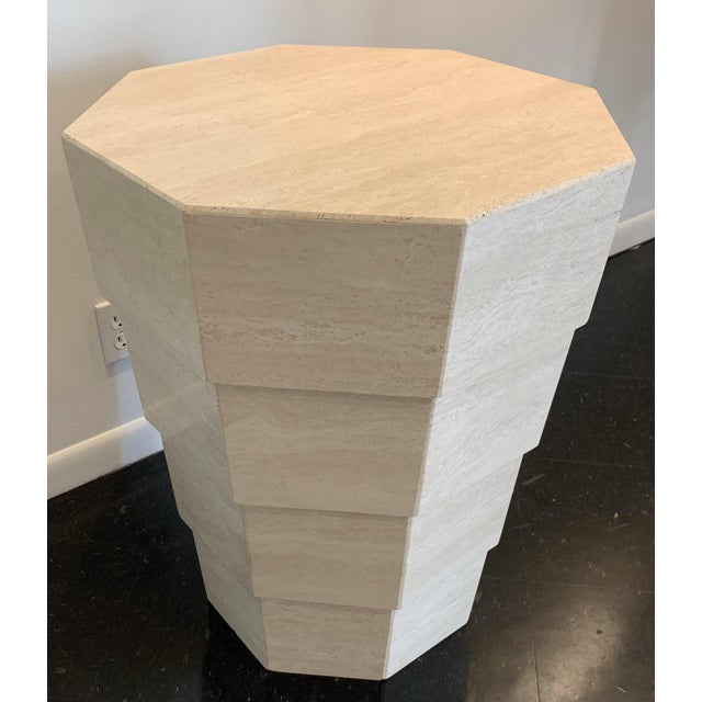 Travertine Octagonal Table Italian octagonal travertine table from the 1970s. Beautifully polished. Consider placing a...