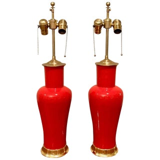 Orange / Red Porcelain Lamps on 23-Karat Water Giltwood Bases - a Pair For Sale