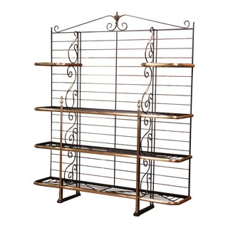 Early 20th Century Wrought Iron and Brass Baker's Rack Signed Paris, France For Sale