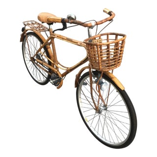 Boho Chic Rattan and Bamboo Bicycle For Sale