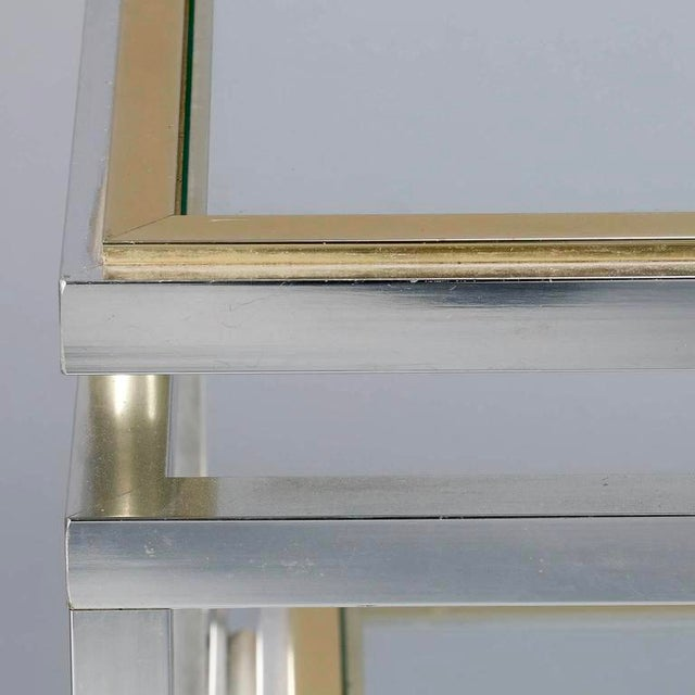 Mid Century Chrome Brass and Glass Serving Trolley in Style of Maison Jansen - Image 8 of 8