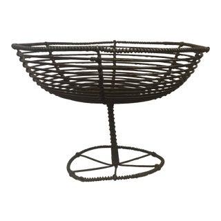 Vintage Industrial Wire Fruit Basket For Sale