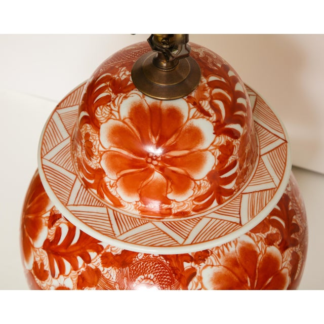 Chinese Orange and White Ceramic Lamps - A Pair For Sale - Image 3 of 13