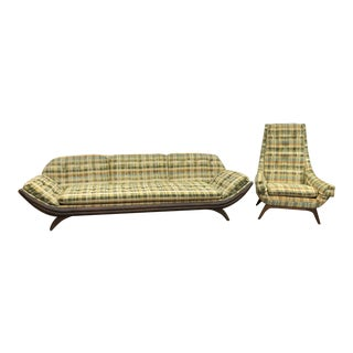 Mid Century Modern Adrian Pearsall Style Gondola Sofa & Chair For Sale