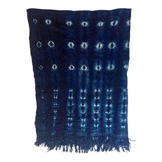 Modern Indigo Mudcloth Fabric Tapestry Wallhanging- 3.5' X 5' For Sale