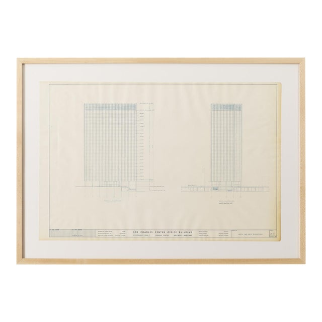 Mies Van Der Rohe Blueprint - One Charles Center, Baltimore 1961 - Elevations For Sale