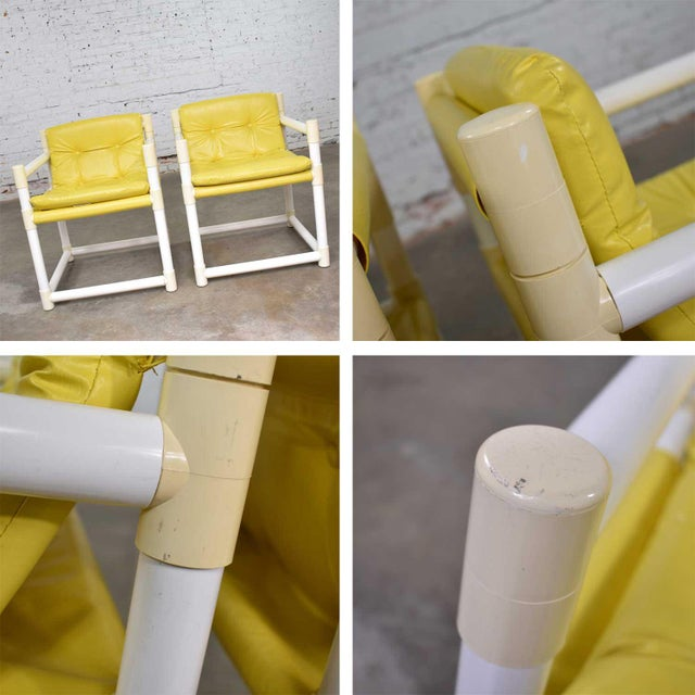 Yellow MCM Outdoor Pvc Side Chairs Yellow Vinyl Upholstery by Decorion Fun Furnishings - a Pair For Sale - Image 8 of 11