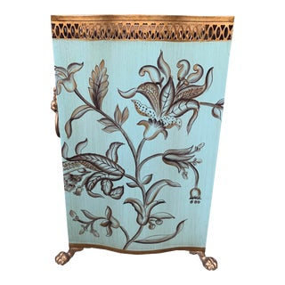 Turquoise Tole Painted Wastebasket For Sale