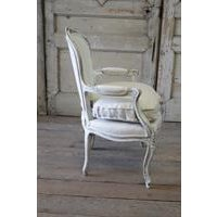 Antique French Country Style Upholstered Linen Open Armchair - Image 6 of 6