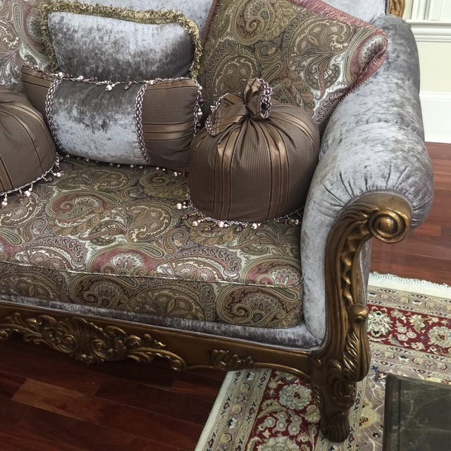 Purple & Paisley Loveseat With Pillows For Sale - Image 5 of 8