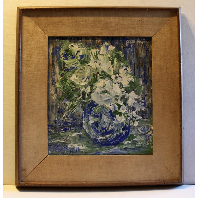 Mid-Century Blue Floral Still Life Painting - Image 2 of 5
