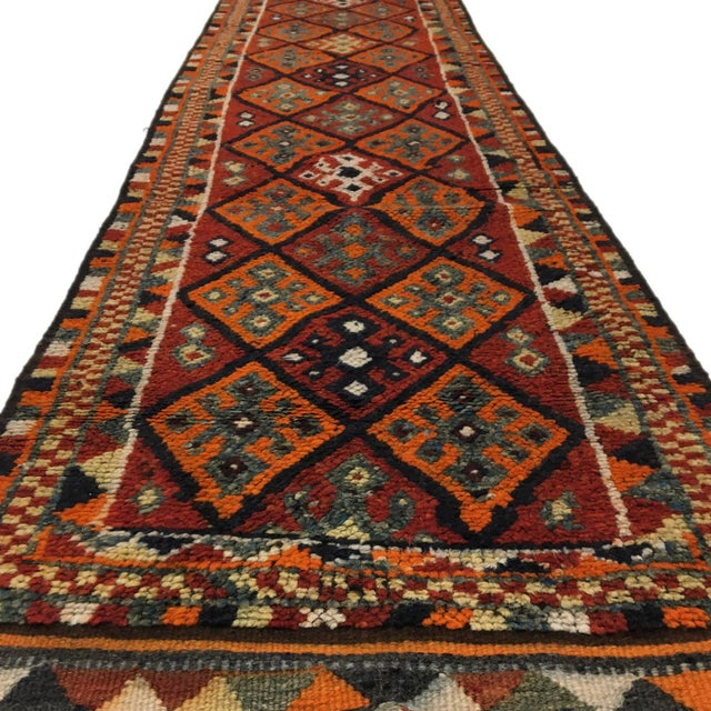 Rug & Relic, Inc. Tangerine and Rust Vintage Herki Runner For Sale - Image 4 of 6