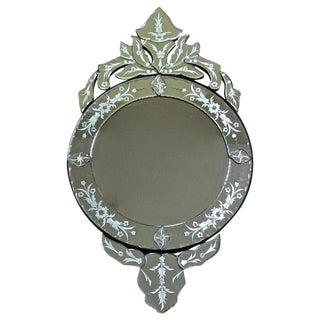 1960s Venetian Etched Glass Circular Wall Mirror
