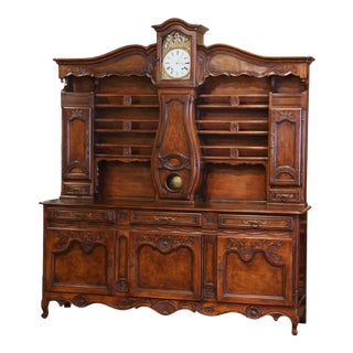 Midcentury French Louis XV Carved Burl Walnut Clock Vaisselier From Lyon For Sale