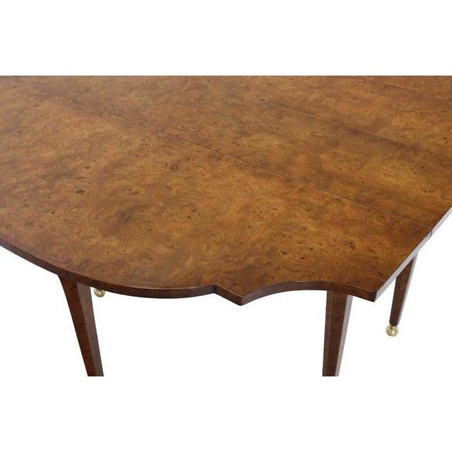 Burlwood Burl Wood Drop Leaf Dining Table on Brass Balls Feet For Sale - Image 7 of 8