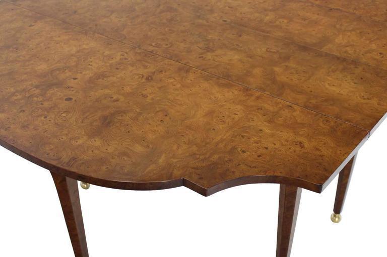 Burl Wood Drop Leaf Dining Table On Brass Balls Feet   Image 7 Of 8