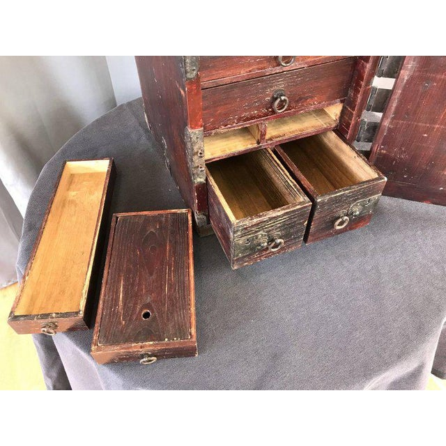 Antique Compact Chinese Seaman's Chest With Locks and Key For Sale - Image 11 of 13