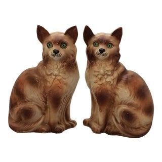 Pair of Scottish Bo'ness Cats with Glass Eyes For Sale