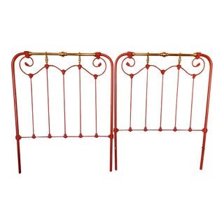 Victorian Painted Metal and Brass Twin Headboard For Sale