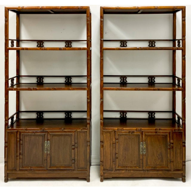 Mid 20th Century Pair of Mid-Century Asian Faux Bamboo Etageres For Sale - Image 5 of 6