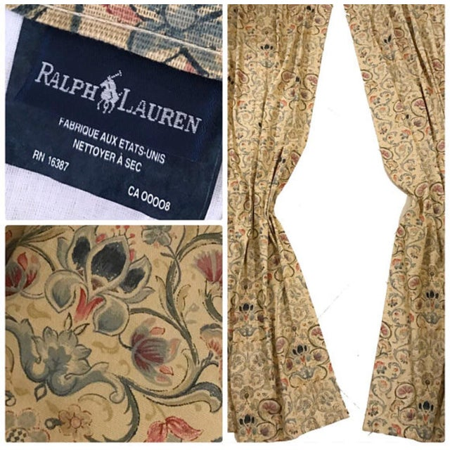 "Textile Ralph Lauren ""Provence"" Lined Drapes Panels - a Pair For Sale - Image 7 of 8"