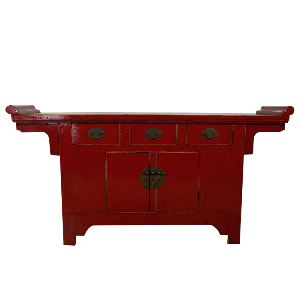 Red lacquered furniture Chinese Antique Chinese Red Lacquered Altar Sideboard For Sale Chairish Antique Chinese Red Lacquered Altar Sideboard Chairish