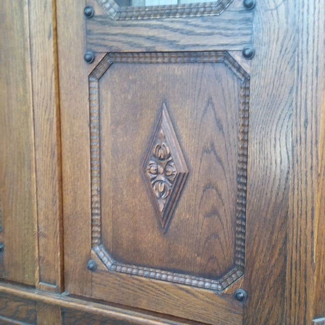 Brown Antique Oak Barley Twist Bookcase Display China Cabinet / Bookcase Hutch For Sale - Image 8 of 12