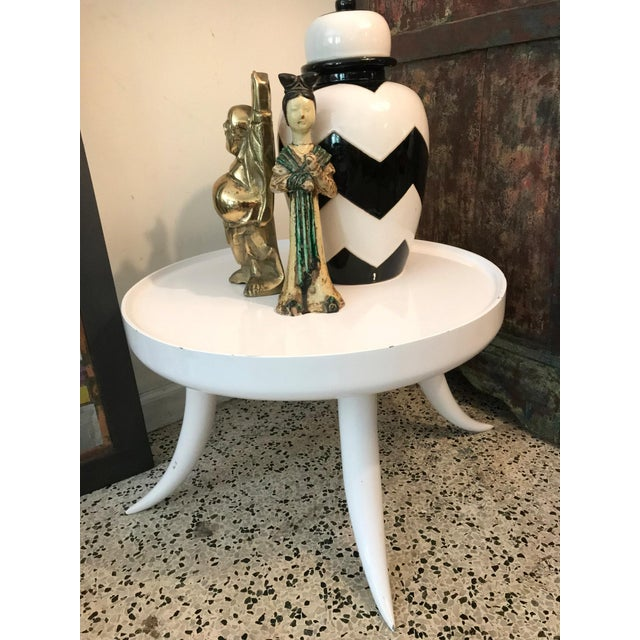 Jonathan Adler Lacquer Tusk White Coffee Cocktail Table - Image 2 of 7