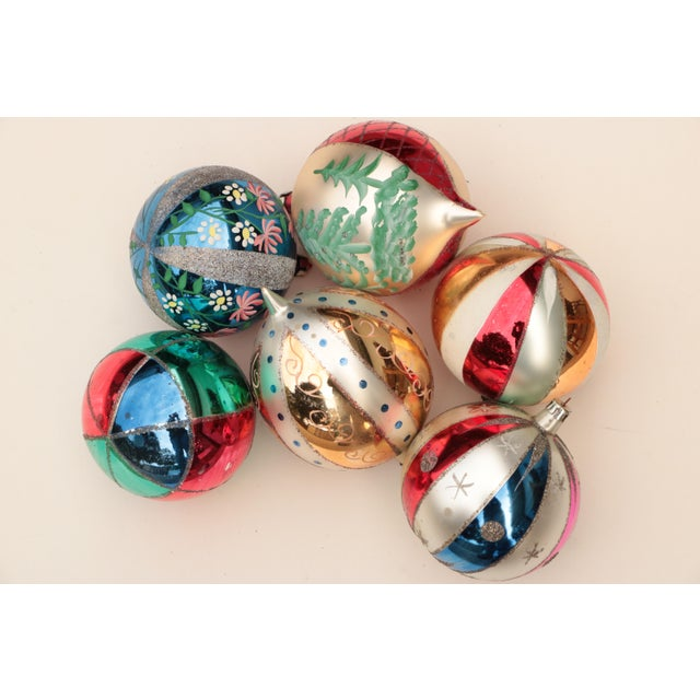 Giant Vintage Blown Glass Ornaments - Set of 6 For Sale In Madison - Image 6 of 7