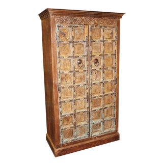 1920s Indian Teak Hand Carved Armoire For Sale