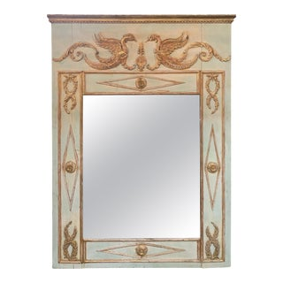 19th Century French Neoclassical Carved and Parcel Gilt Trumeau Mirror For Sale