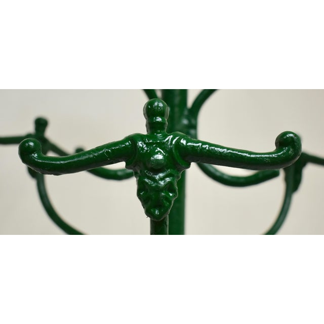 Green Vintage Green Cast and Wrought Iron Hall Tree For Sale - Image 8 of 9